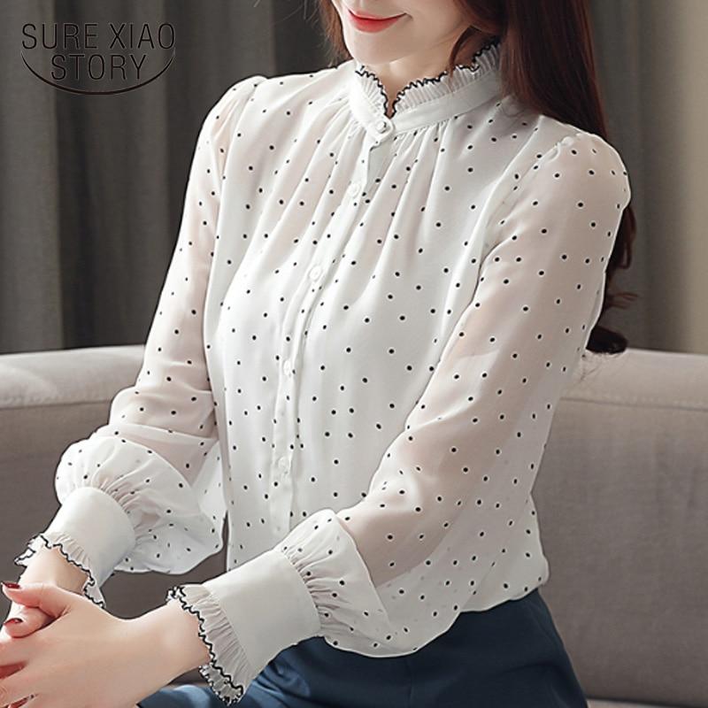 Blusas Mujer De Moda 2019 Women Blouses Long Sleeve Black Dot White Chiffon Blouse Women Shirts  Womens Tops And Blouses 2261 50