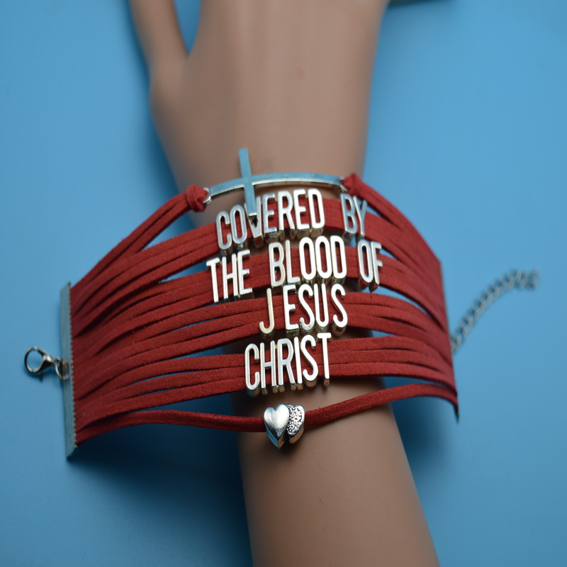 Cross Heart Covered By The Blood Of Jesus Christ Charm