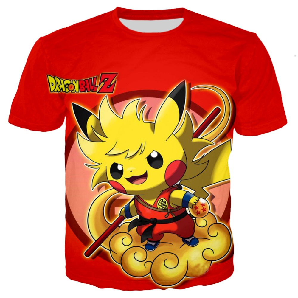 Kids Dragon Ball Pokemon <font><b>Detective</b></font> <font><b>Pikachu</b></font> 3D Print t shirts Boy Child cartoon Dinosaur <font><b>tshirt</b></font> Harajuku tops 2019 new movie tees image