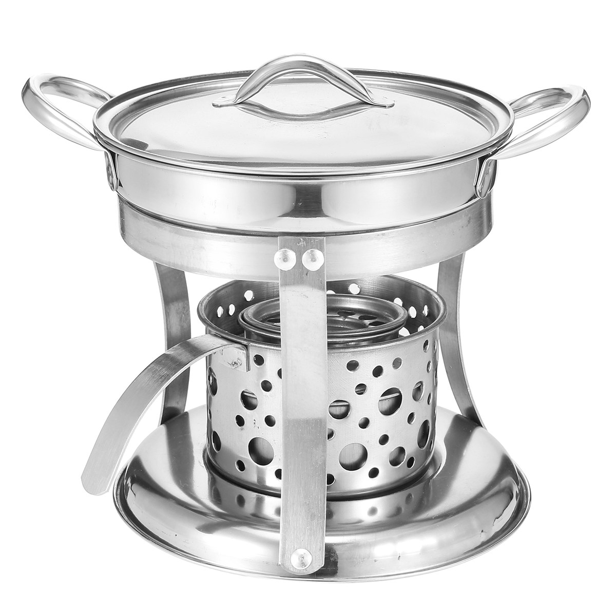 New DIY Shabu Shabu Stainless Steel Hot Pot With Alcohol Burner & Lid Kitchen Cooking Tools Winter Party Cookware Soup Pot