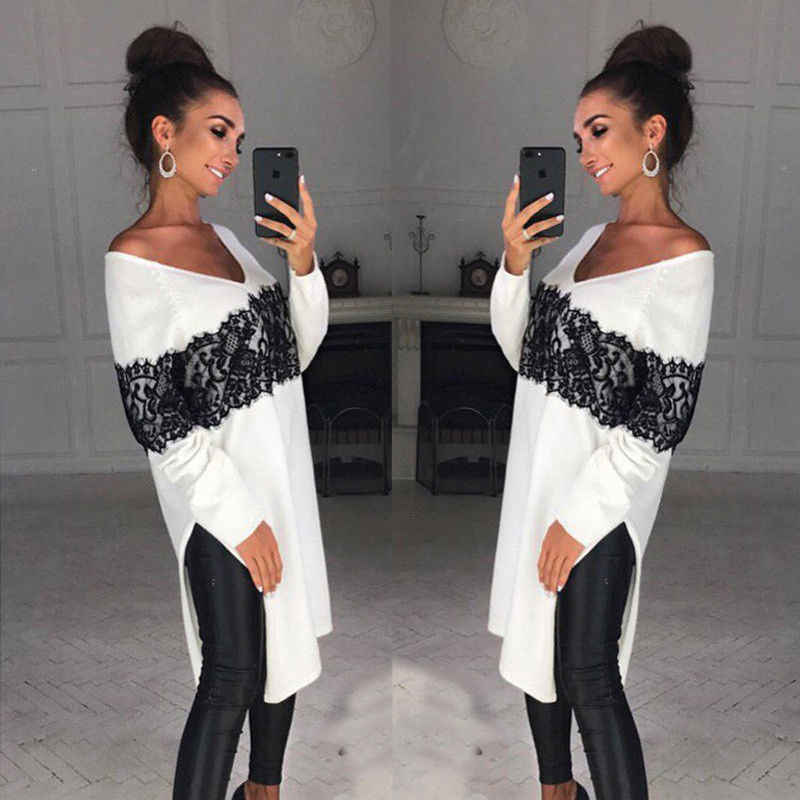Fashion Casual Ladies Women Long Sleeve Cotton Casual  Asymmetric Loose Tops Long Print Blouse V-Neck