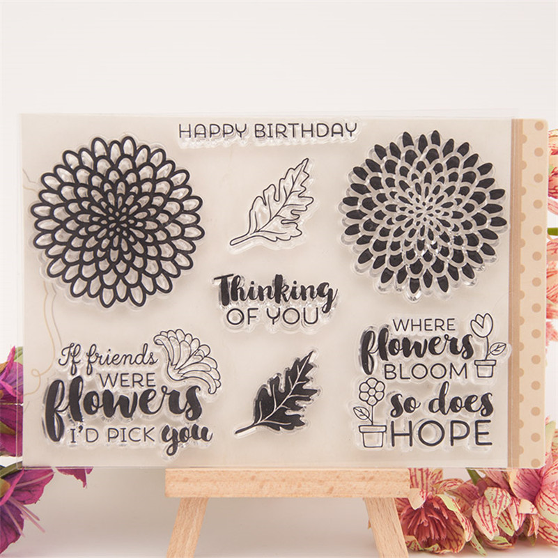 flowers and plants Clear Silicone Rubber Stamp for DIY scrapbooking photo album Decorative craft for wedding gift CC-076 lovely animals and ballon design transparent clear silicone stamp for diy scrapbooking photo album clear stamp cl 278