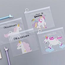 1 шт. Lytwtw корейский школьные канцелярские принадлежности милые Kawaii креативный конверт из ПВХ, чтобы получить мешок Единорог полупрозрачная папка