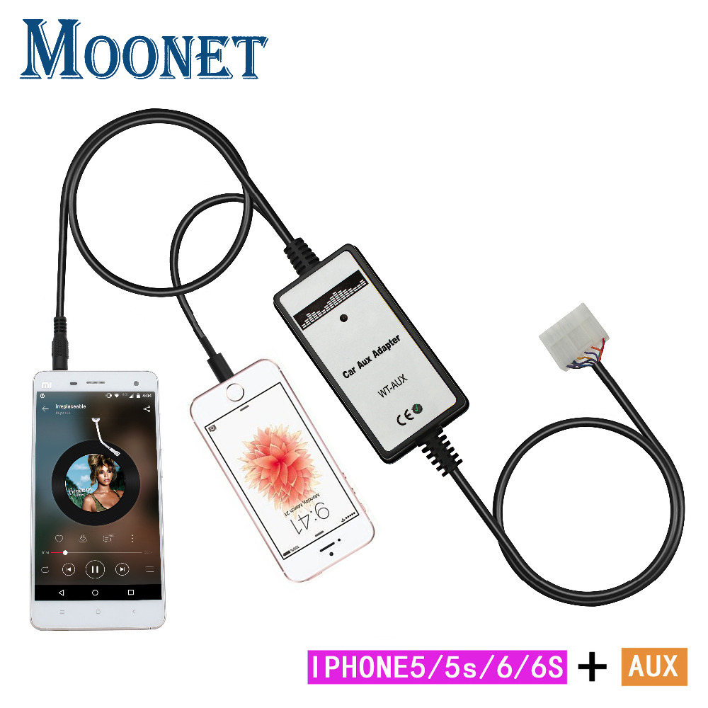 Moonet Car Audio AUX-adapter MP3-speler 3,5 mm AUX + iPhone Lightning voor Toyota & Lexus (5 + 7) Corolla Avensis Camry RAV4 QX196