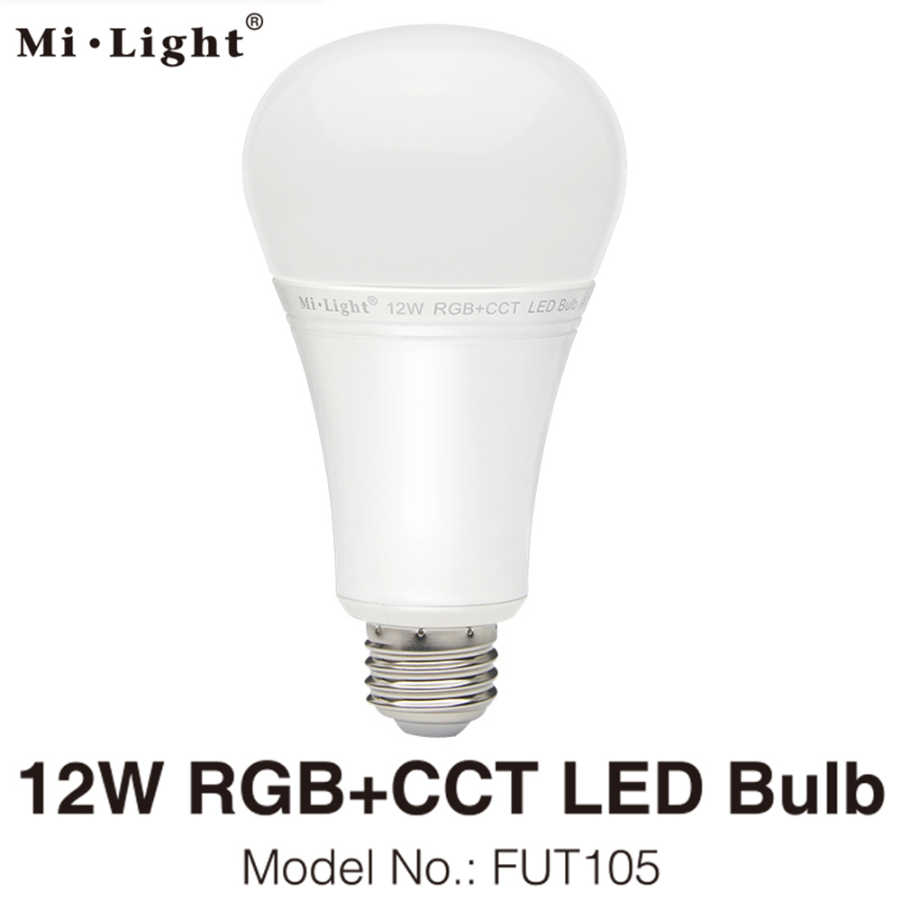 MiLight E27 12W RGB+CCT LED Bulb Spotlight FUT105 110V 220V Full Color Remote Control Smart Bulb WiFi Compatible 4-Zone Remote