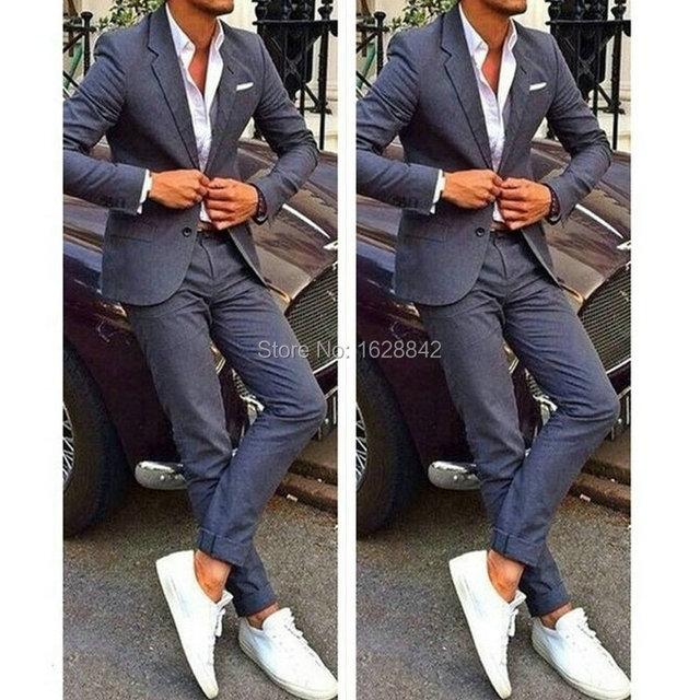 Street Fashion Style Gris Traje de 2 Pedazos de La Venta Caliente Fresco Hombres Terno por Encargo Slim Fit Solo Pecho Casual Trajes de Boda Para Hombres