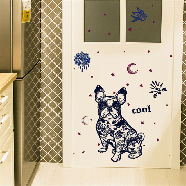 brixini.com - Removable Cartoon Bulldog Wall Sticker
