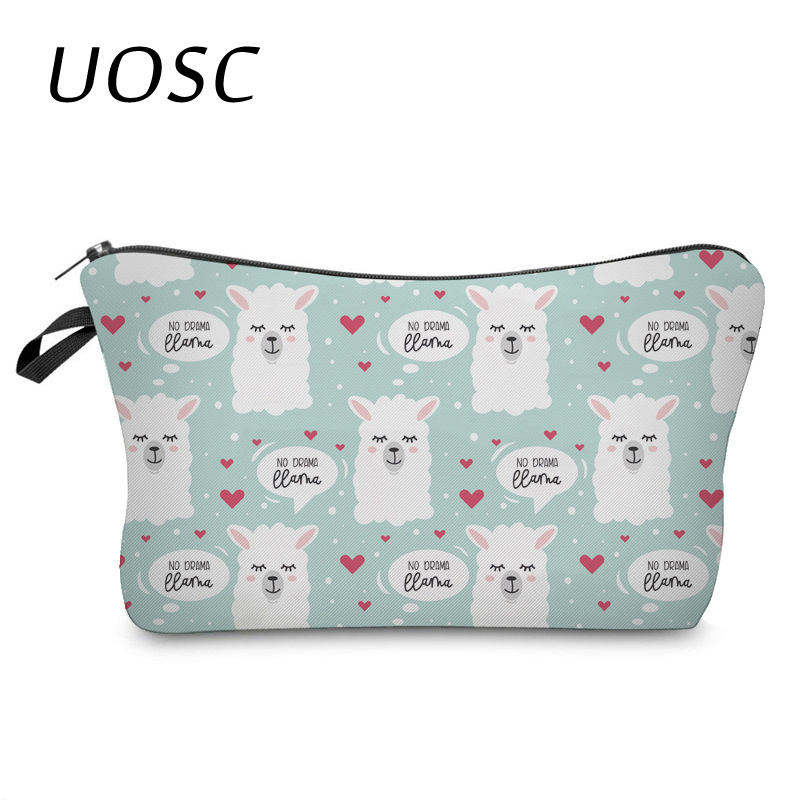UOSC Travel Cosmetic Bag Animal Flamingo Make Up Bags Girl Function Makeup Case Beauty Wash Organizer Toiletry Storage Bag