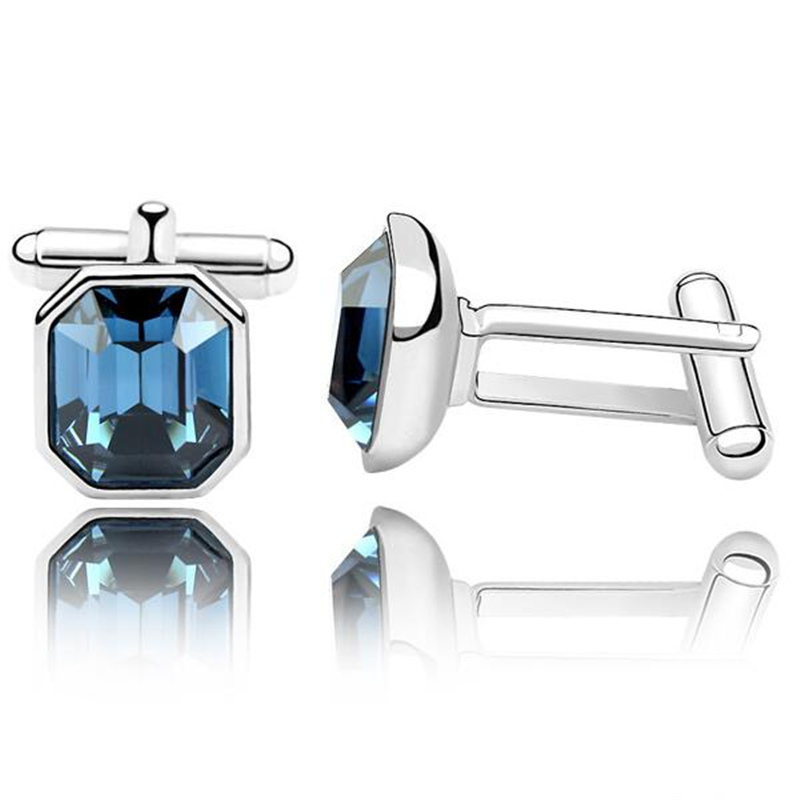 Men s Elegant Blue Square Wedding Cufflinks Cuff Links Crystal from Swarovski 2995