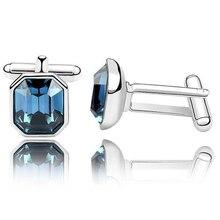 Hombre Elegante Blue Square Gemelos Gemelos de La Boda de Cristal de Swarovski 2995