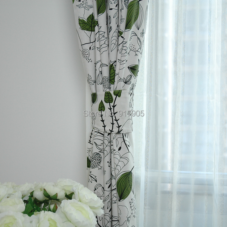 Elegant Green Leaf Print Curtains For Living Room Designer Cotton Window Panel Modern Cute Birds Chinese In From Home Garden On