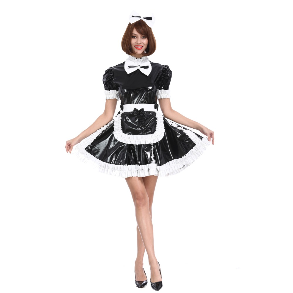 Maricas Empregada Menina Lovely Bow PVC Com Fecho Black Dress Travestir Traje Cosplay
