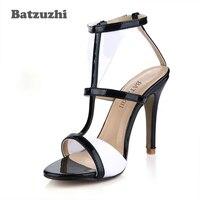Batzuzhi Brand Women Sandals Leather Women Shoes Summer Open Toe Sandals Black White Leather Shoes T trap Buckle, Big Size 43