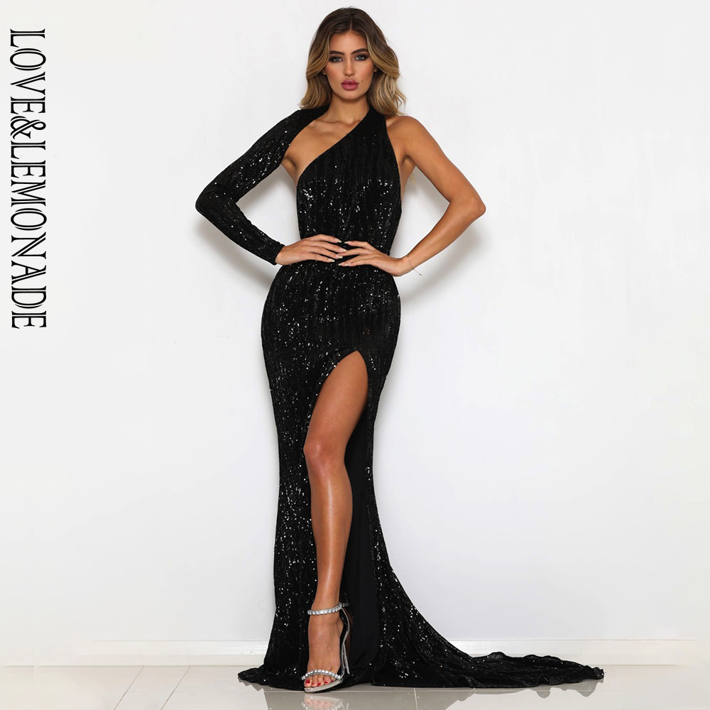Love&Lemonade Sexy  Open Back Single Sleeve Slim Fit Elastic Sequined Fabric Bodycon Going Out Long Dress LM81333-2 BLACK