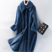 2018 Women's Real Fur Coat 100% Wool Jackets Women Winter Warm Whole Wool sheepskin Overcoat Long Double Breasted Trench Coats