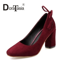 DoraTasia hot sale square toe Big Size 33-45 Slip On Woman Pumps butterfly knot Square High Heels Wedding Party women Shoes