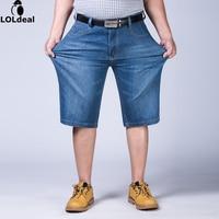Mens Plus Size 44 46 48 50 52 Jeans Shorts Stretch Light Blue Thin Denim Short