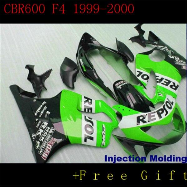 Front fenders FAIRING For HONDA 1999-2000 CBR600F4 99-00 CBR600 F4 Black