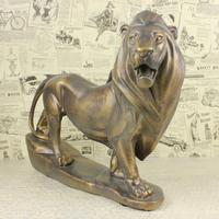 Vintage Lion Sculpture Handmade Resin King of Beasts Figurine Craftworks Adornment Accessories for Souvenir Gift and Shelf Decor