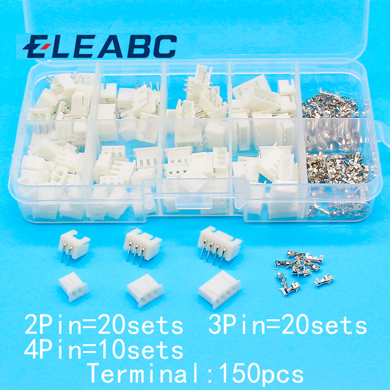 50 sets Kit in box 2p 3p 4pin Right angle 2.54mm Pitch Terminal / Housing / Pin Header Connector Wire Connectors Adaptor XH Kits
