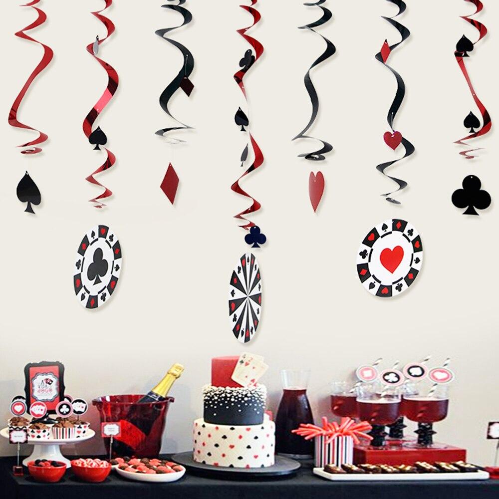 9pcs/set Foil Casino Hanging Dangling Swirl Decorations Playing Card Swirls Poker Card Decor Alice in Wonderland Tea Party Decor