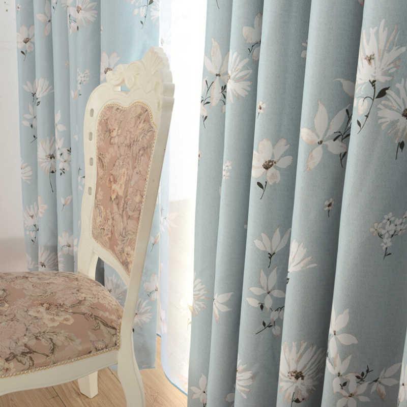 Blackout fabric Blue blackout curtains cloth Drape Transparent Sheer Voile Decor Beige Curtain Customize WP201B