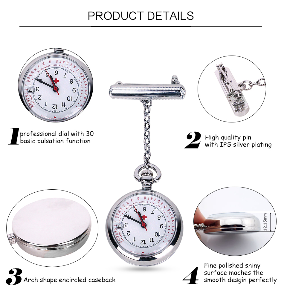 ALK VISION nurse watch fob nurse pocket watch doctor 2017 top brand quartz brooch medical watch pendants rose gold silver 14
