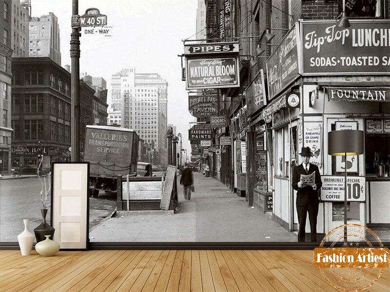 Custom modern black & white wallpaper mural European city street shop view tv sofa bedroom living room cafe bar restaurant