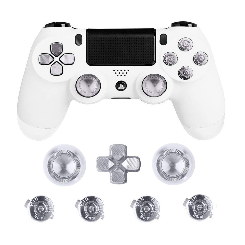 cheapest Metal Thumb Grips for PS4 Controller Aluminum Replacement ABXY Bullet Buttons Thumbsticks Chrome D-pad for Sony Playstation 4