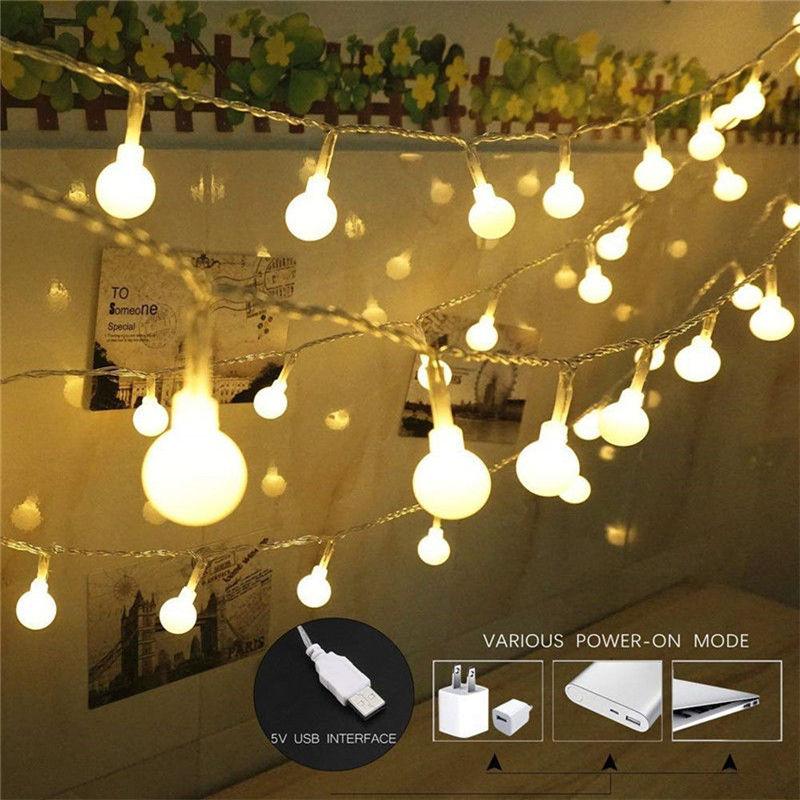 3M/5M/10M Garland Xmas LED Ball String Light 5V USB Operated 20 50 100 LED Fairy Lights For Christmas Tree Wedding Party Decor