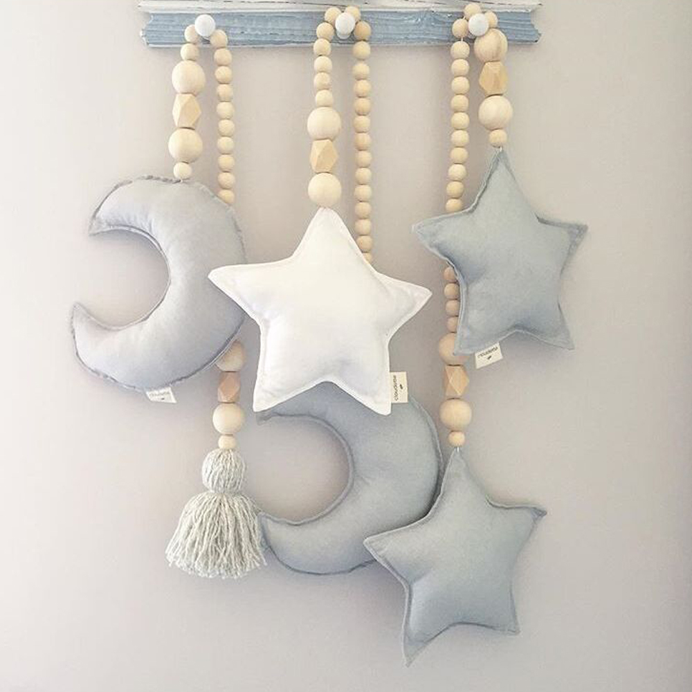 New Nordic Style Star Moon Wooden Beads Ornament Wall Hanging Accessories Kids Room Decors Nursery Tent Baby Bed Shooting Props