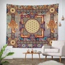 Lannidaa Классическая гобелен-Мандала с изображением слона на стене в богемном стиле с цветами, для украшения дома стены Гобеленовое покрывало диван крышка