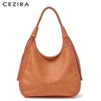 CEZIRA Brand Hobo Bag Women Handbags Shoulder Large Female Faux Leather Tassel Big Totes Ladies High Quality Top handle Bag New
