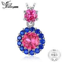 JewelryPalace 2ct Criado Red Ruby Blue Spinel Pingente Colar 925 Sterling Silver Wedding Engagement Presente do Aniversário Novo
