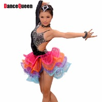 2015 New Girls Professional Latin Dress Bright Drill Kids Stage Costumes Tassel Children Latin Dance Competition