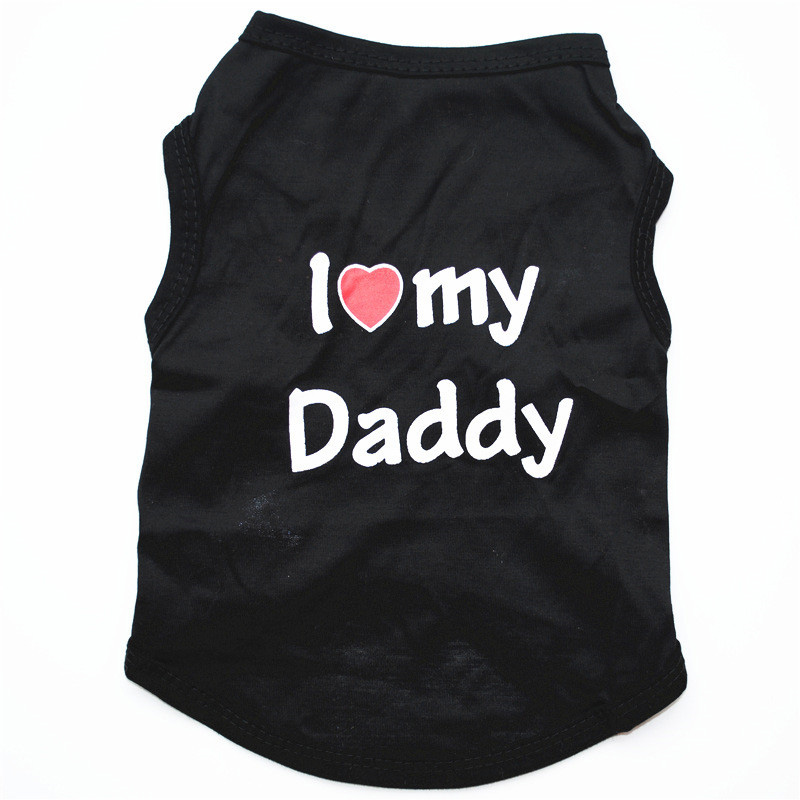 Classic Love Mommy & Love Daddy Print Dog Vest Unisex Puppy Cat T Shirt Sleeveless Clothing Cute Dogs Clothes For Small Doggy 14