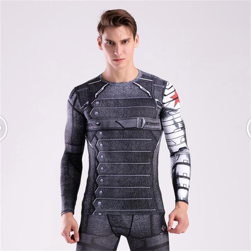 Men Long Sleeve Compression Shirt 3D Anime Superhero Superman T Shirt
