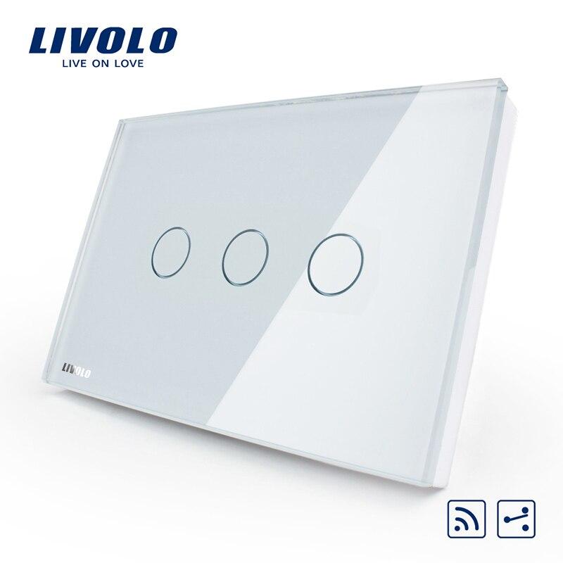 Livolo US/AU standard 3-gang 2-way дистанционный сенсорный выключатель света, белый кристалл стеклянная панель, VL-C303SR-81, без пульта дистанционного управле...