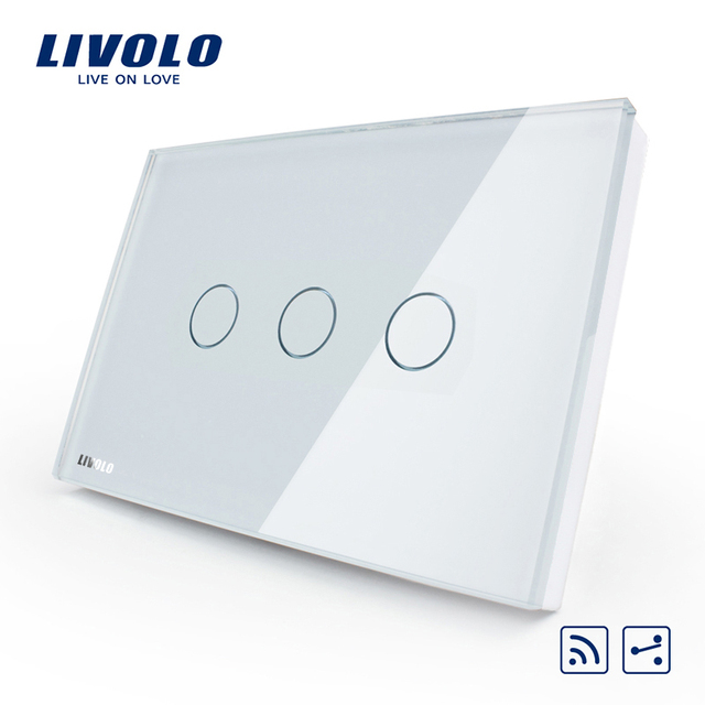 Manufacturer, smart switch,US/AU standard,VL-C303SR-81,3-gang 2-way Remote Touch Light Switch, Crystal Glass Panel,LED indicator