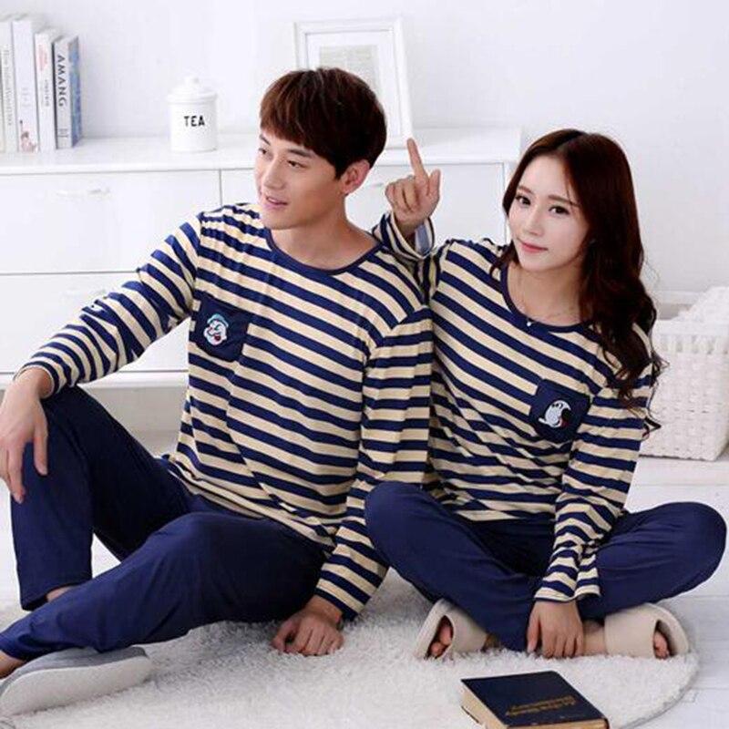 Hot Sale Fashion Soft Spring Striped Cotton Couple Pijamas Sets Sleepcoat & Trousers Men Women Home Clothings Sleepwear Lovers