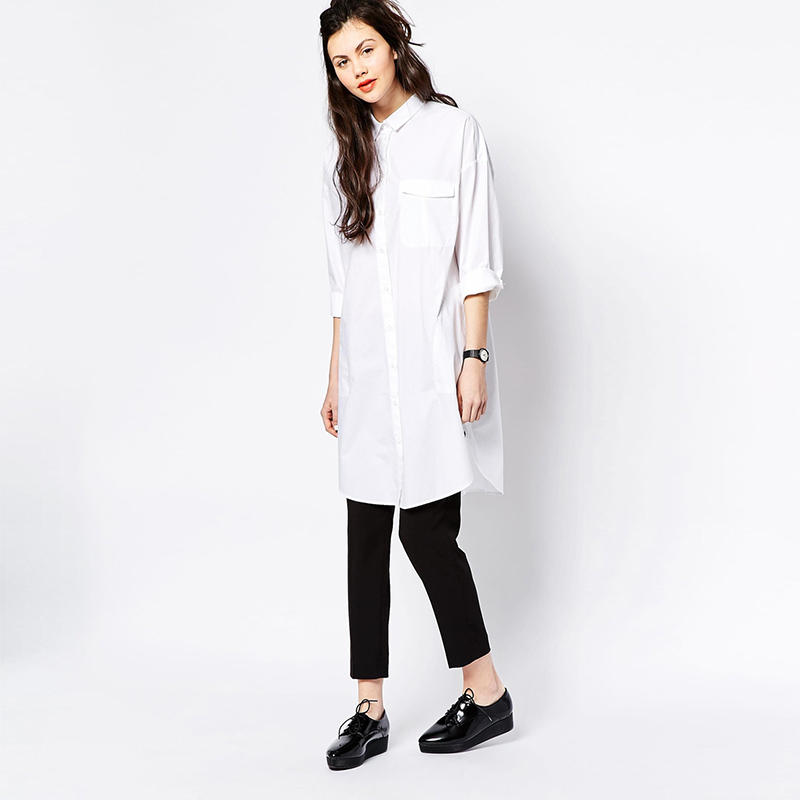 New 2015 Brief Style White Loose Women Dress Long Shirts Casual ...