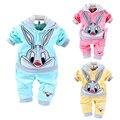 2017 Spring Autumn Children New Clothing Sets Kids Baby Girl/Boy Cartoon Rabbit Velvet Tracksuits Coat+Long Pant 2pcs for 3-24m