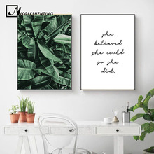 Green Plant Leaf Canvas Wall Painting Art Poster Nordic Motivational Quotes Print Scandinavian Decoration Picture Home Decor