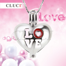 Cluci San Valentín Amuletos plata 925 joyería dulce amor colgante Locket, forma de corazón Amuletos colgante fina joyería regalo para mujer/mujeres