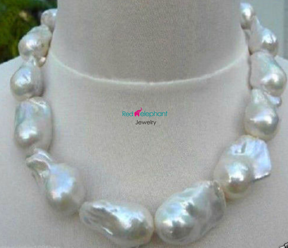 Free Shipping Hot sell Noble- >>>@@ shopping! REAL HUGE AAA SOUTH SEA WHITE BAROQUE PEARL NECKLACE 18