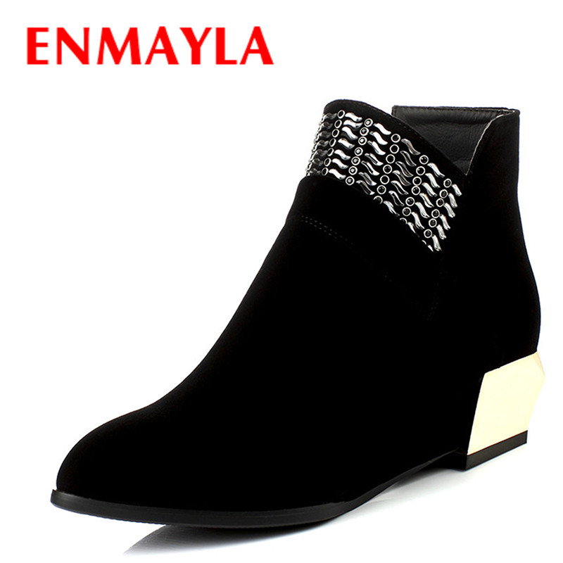 ENMAYLA Autumn Wedges Heels Ankle Boots for Women Pointed Toe Rhinestone Beading Shoes Woman Fashion Med Heels Boots Black Red enmayla ankle boots for women low heels autumn and winter boots shoes woman large size 34 43 round toe motorcycle boots