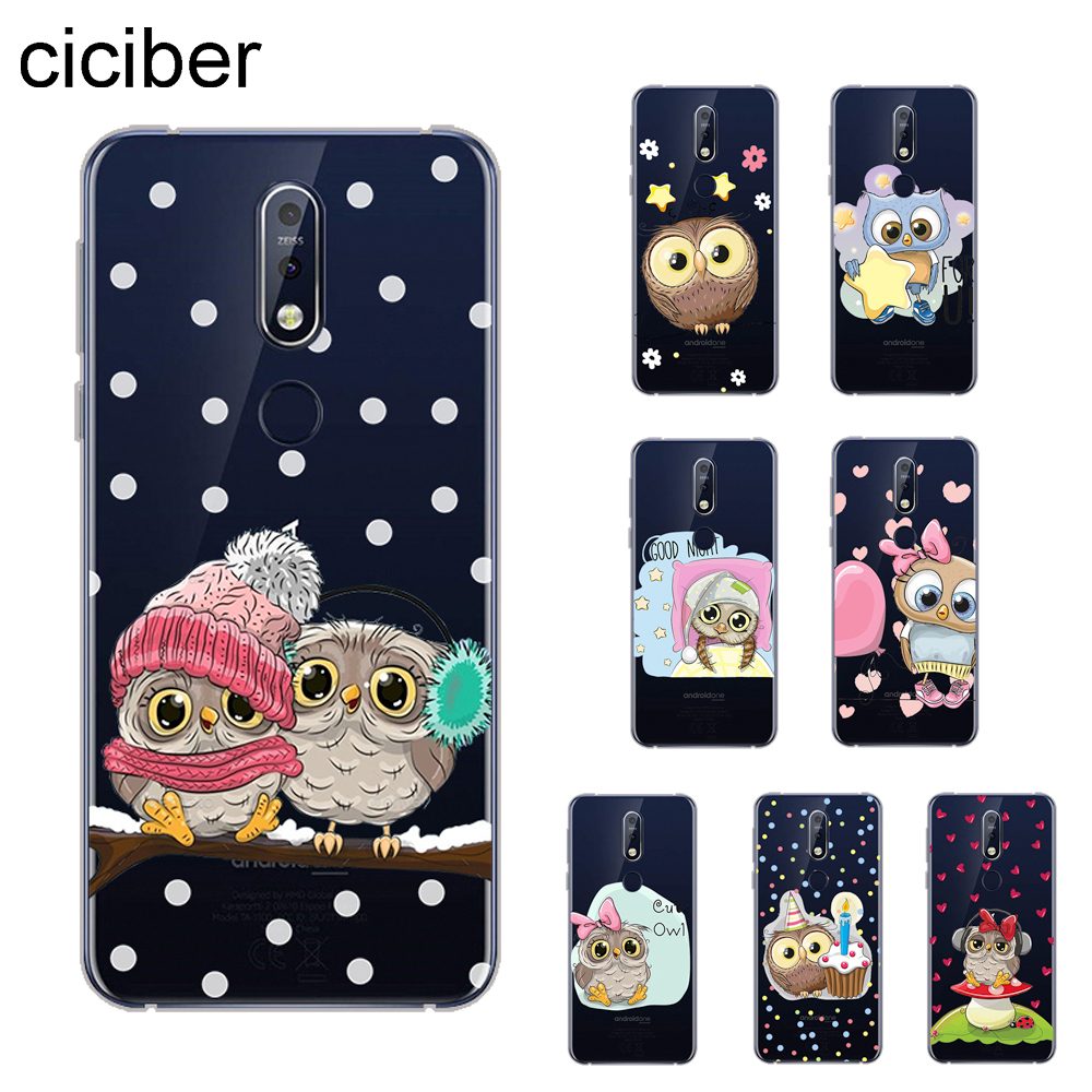 ciciber Cute Owl Cover For <font><b>Nokia</b></font> 8 8.1 7 7.1 6 <font><b>6.1</b></font> 5 5.1 3 3.1 2.1 1 Plus 9 PureView Phone Cases For <font><b>Nokia</b></font> X7 X6 X5 X3 Soft TPU image