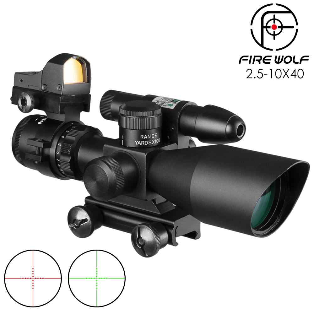 2.5-10x40 Tactical Rifle Scope Green Laser Illuminated Airsoft Riflescope Sight+Holographic Red Dot Sight Combination Suit