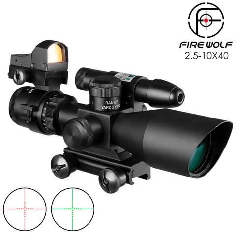 2 5 10x40 tactical rifle scope laser verde iluminado airsoft riflescope vista holografica red dot