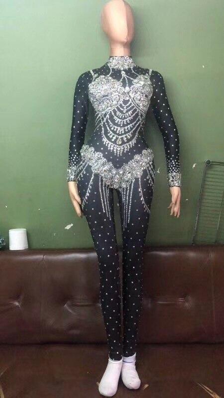 Женский новый ночной клуб черные сверкающие кристаллы сексуальный боди сексуальный головной убор костюм Одежда для танцевального выступл